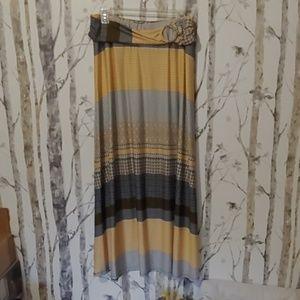 Yellow and black maxi skirt